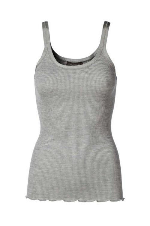 Rosemunde silketop w/vintage light grey melange