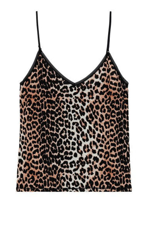 Ganni slip undertop leopard