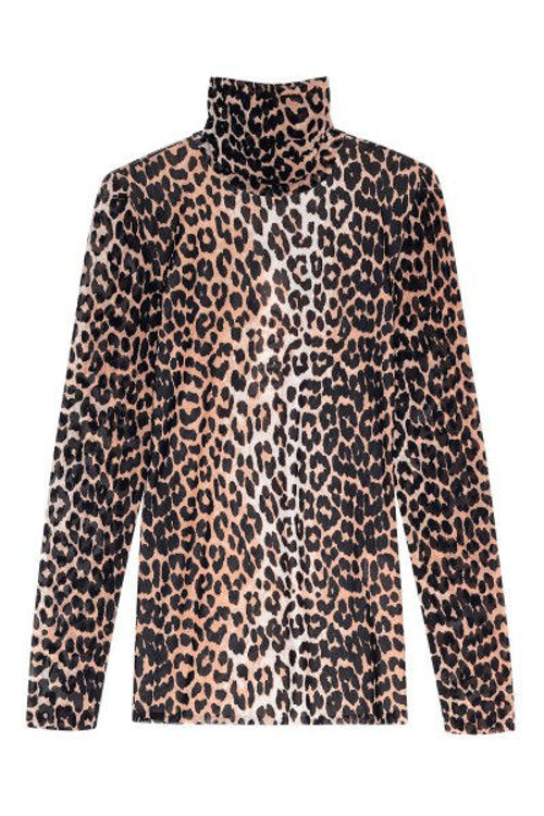 Ganni printed Mesh rullekrave leopard