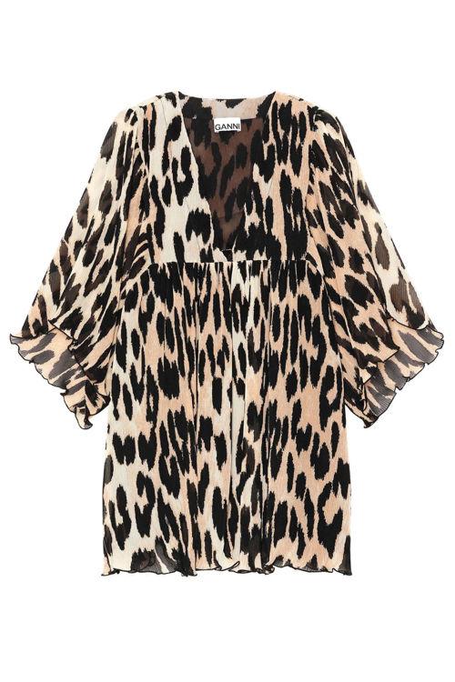 Ganni oversized minikjole leopard
