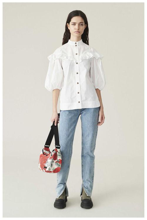 Ganni Ruffled drop shoulder skjorte bright white