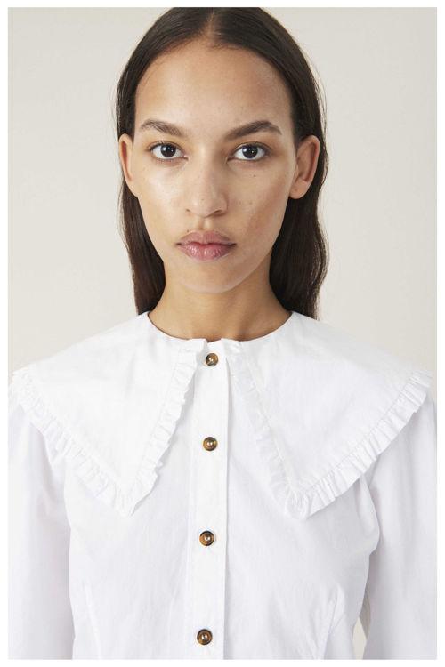 Ganni Fitted poplin skjorte bright white