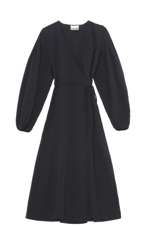 Ganni slå-om midi kjole sort
