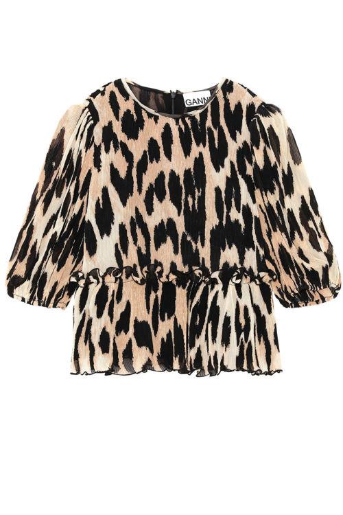 Ganni Georgette bluse maxi leopard