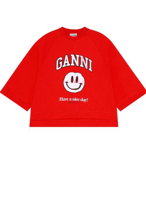 Ganni oversized raglan sweatshirt flame scarlet