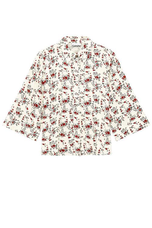 Ganni skjortebluse med print egret