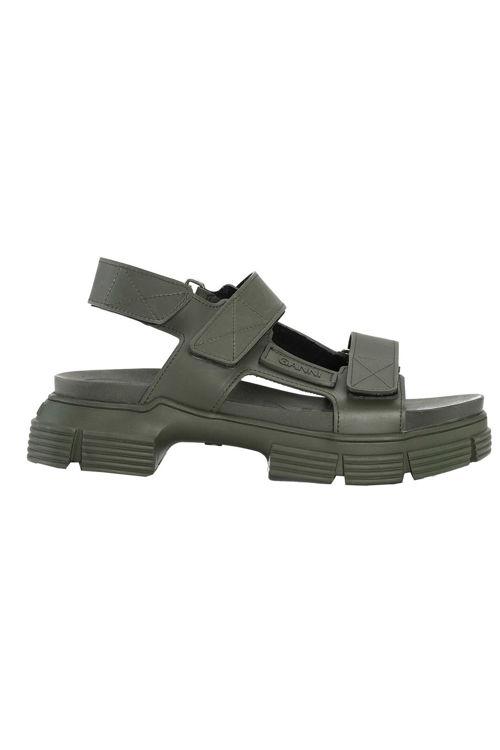Ganni velcro sandal i genanvendt gummi kalamata