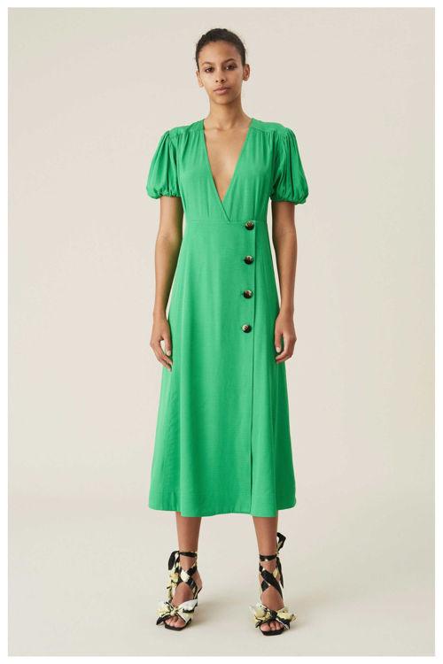 Ganni ripstop slå-om-kjole kelly green