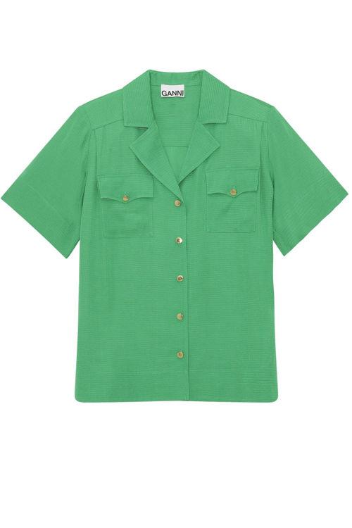 Ganni ripstop bluse kelly green