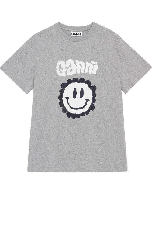 Ganni Smiley T-shirt jersey paloma melange