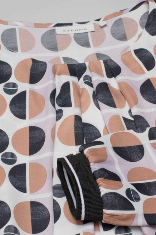 Eterna Modern Classic bluse brun/sort print
