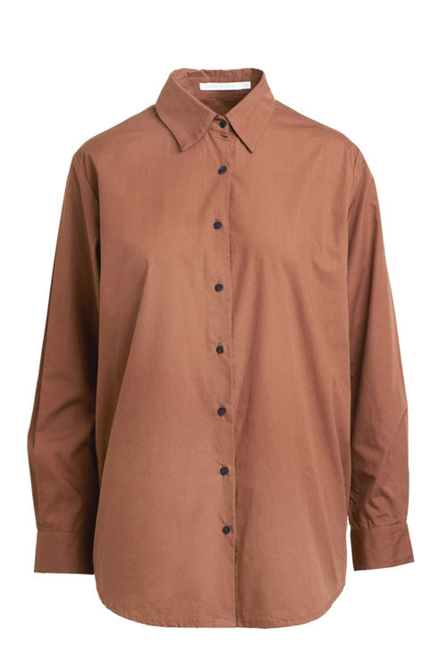 Rabens Saloner Rosali poplin skjorte chestnut