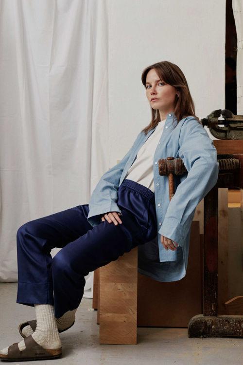 Aiayu Essential poplin skjorte deep blue